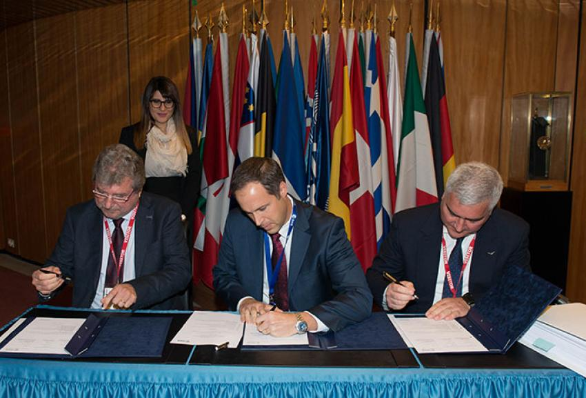 Avio signing two contracts with ESA, the European Space Agency, in Paris